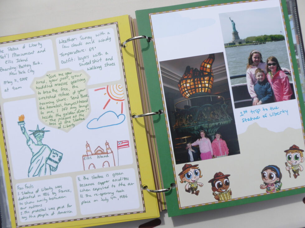 Ranger-Trek-Expedition-Journal-photo-album-memory-book-scrapbook-pages-characters-Junior-Ranger-Program-National-Parks-Statue-of-Liberty