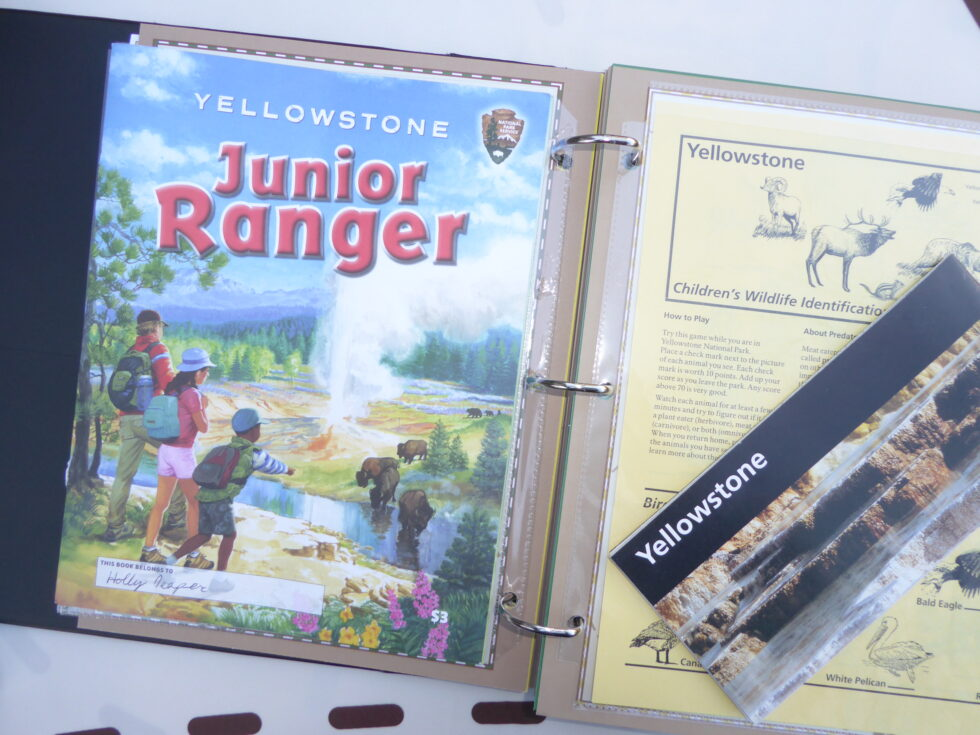Ranger-Trek-Expedition-Journal-scrapbook-keepsake-memory-book-album-scrapbooking-pages-Yellowstone-National-Park-Junior-Ranger-Program-booklet-certificate-unigrid-map
