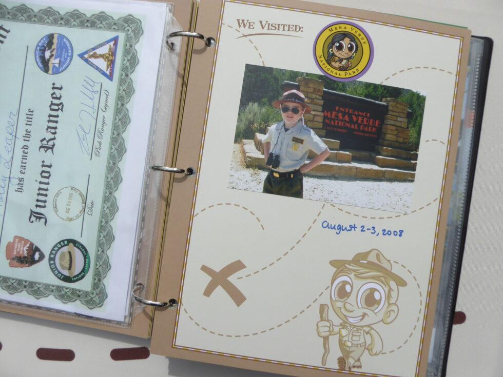 Ranger-Trek-Expedition-Journal-scrapbook-pages-We-Visited-photo-album-keepsake-memory-book-Junior-Ranger-Program-booklet-Mesa-Verde-National-Park-certificate