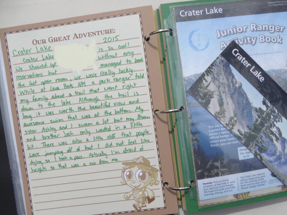 Ranger-Trek-Expedition-Journal-scrapbook-photo-album-keepsake-memory-book-Junior-Ranger-Program-booklet-Crater-Lake-National-Park-certificate