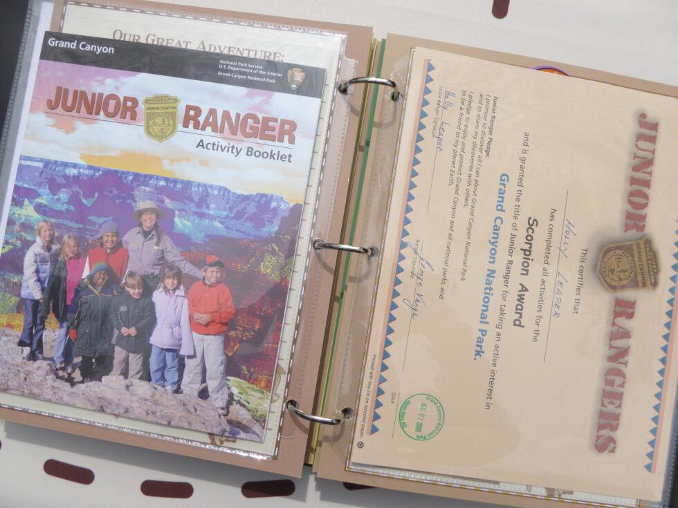 Ranger-Trek-Expedition-Journal-scrapbook-photo-album-keepsake-memory-book-Junior-Ranger-Program-booklet-Grand-Canyon-National-Park-certificate