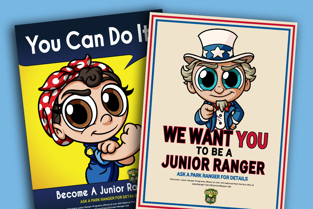 Ranger-Trek-Junior-Ranger-Program-Cute-Cartoon-Vintage-Americana-Posters-for-people-who-love-the-National-Parks