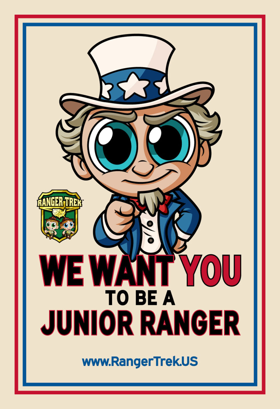 Uncle-Sam-Want-You-in-the-US-Army-Vintage-Vinyl-Sticker-Collectible-Ranger-Trek-National-Park-Junior-Ranger